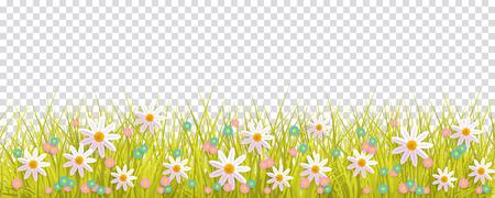 Fronteira de grama e flores de primavera, elemento de decoração de cartão de Páscoa, ilustração vetorial plana isolado no fundo transparente. Elemento de decoração de Páscoa com grama de primavera e flores do Prado Ilustración de vector