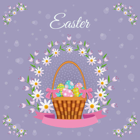 vector easter holiday poster, banner background template with spring festive elements - decorated eggs in wicker basket, daisy flowers with leaves for your design. Illustration on violet background.