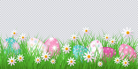 Easter holiday template on transparent background with spring festive elements - decorated eggs at green grass meadow, daisy flowers for your design. Illustration on green background.