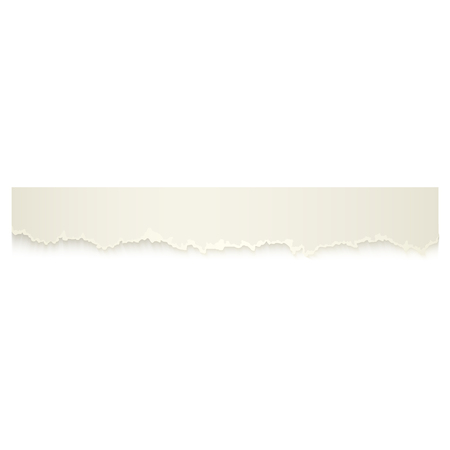 Horizontal piece, ribbon of torn-off blank paper with ripped edge, realistic vector illustration isolated on transparent background. Realistic vector ribbon, banner, piece of torn-off, ragged paper. Illustration