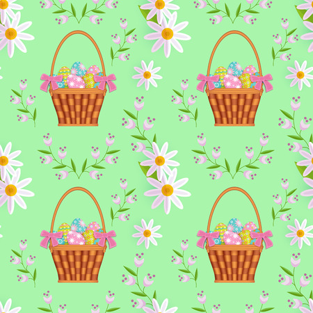 vector easter holiday seamless pattern with spring festive elements - wicker basket with flowers, decorated eggs and daisy flowers with leaves. Flat style illustration on green background