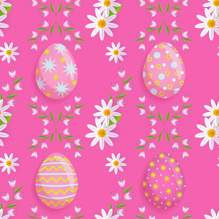 vector easter holiday seamless pattern with spring festive elements - decorated eggs, daisy flowers with leaves for your design. Flat style illustration on pink background Illustration