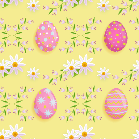 vector easter holiday seamless pattern with spring festive elements - decorated eggs, daisy flowers with leaves for your design. Flat style illustration Illustration