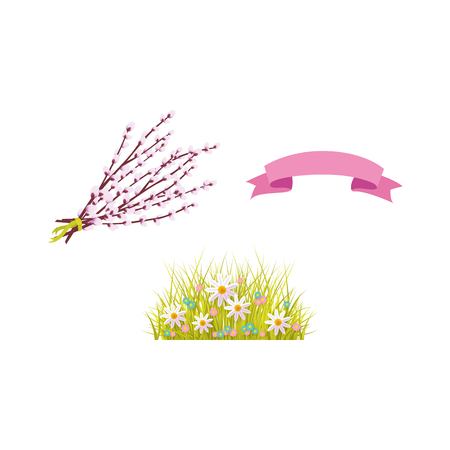 vector flat easter holiday, spring objects icon set. green fresh grass, white daisy flowers on meadow, easter willow twigs, pink ribbon. Isolated illustration on a white background.