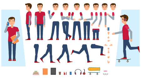 Vector animated young man character. Male teenager creation set front, side view, various items phone, skateboard, workbooks, vape, tablet. Different poses, emotions, gestures Isolated illustration.