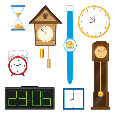 vector flat types of clocks set. Digital wall mounted clock, hourglass, sandglass, table clock, alarm clock, vintage grandfather clock and wristwatch icon. Isolated illustration on a white background Illustration
