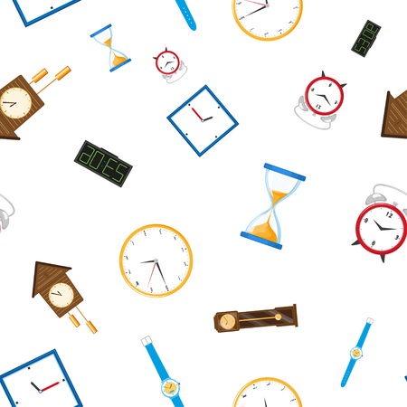Vektor flache Arten von Uhren nahtlose Muster. Digitale Wanduhr, Sanduhr, Sanduhr, Tischuhr, Wecker, Vintage Standuhr und Armbanduhr-Symbol. Getrennte Abbildung ein Standard-Bild - 93843964