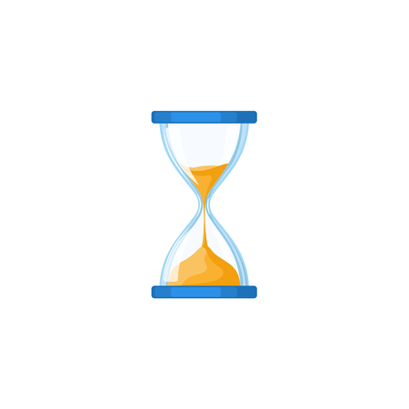 Traditional hourglass, hour-glass, sandglass, sand-glass icon, flat style vector illustration isolated on white background. Simple flat-style sand glass watch icon