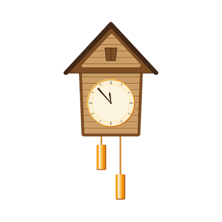 Traditional retro, vintage style cuckoo clock with two weights hanging on the wall, flat style vector illustration on white background. Cuckoo clock hanging on the wall, interior decoration