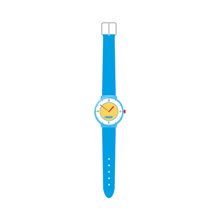 Unfastened mechanical wristwatch, wrist watch with blue plastic wristband, flat vector illustration isolated on white background.