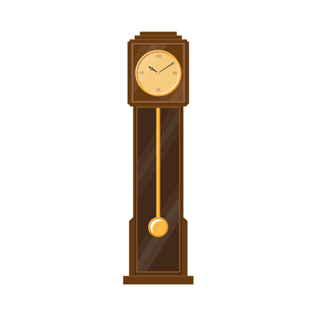 vector flat vintage antique wooden grandfather pendulum clock icon for your design. Isolated illustration on a white background. Иллюстрация