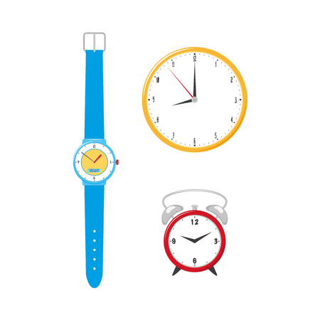 vector flat analog circle table red simple modern alarm clock, wall mounted clock, blue wrist watches icon for your design. Isolated illustration on a white background.