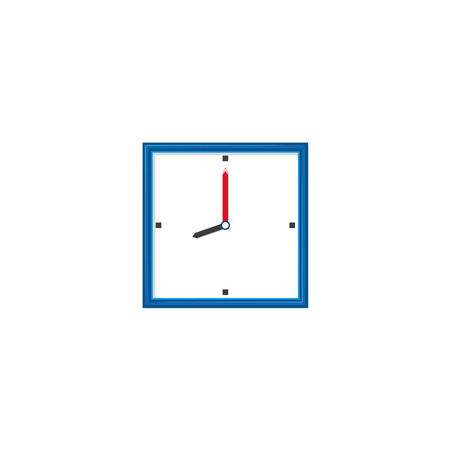 vector flat analog wall mounted simple modern square white colored clock with blue frame icon for your design. Isolated illustration on a white background.