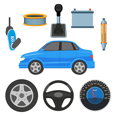 Zestaw samochodu, samochodu i jego części - kierownica, opona, pedał uderzania stopy, prędkościomierz, bateria, filtr powietrza, dźwignia zmiany biegów i amortyzator, płaskie wektor ilustracja na białym tle
