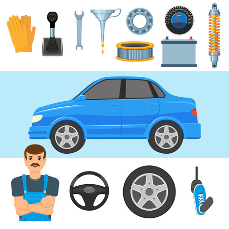 Auto, auto, auto, monteur en set van onderdelen - wiel, banden, pedaal, batterij, luchtfilter, schokdemper en anderen, platte vectorillustratie geïsoleerd op een witte achtergrond. Grote reeks auto-onderdelen