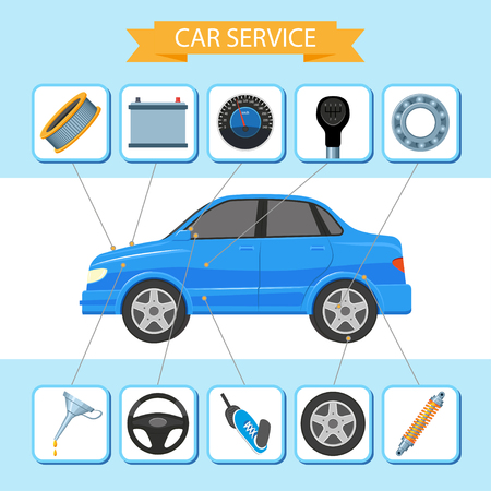 Vector platte auto service infographic pictogrammen poster. Blauw passagiersvoertuig en reserveonderdelen - batterij, wiel, schijf, balwaarschuwing, filters, versnellingsbak, versnellingspook met transmissiesnelheid. Geïsoleerde illustratie