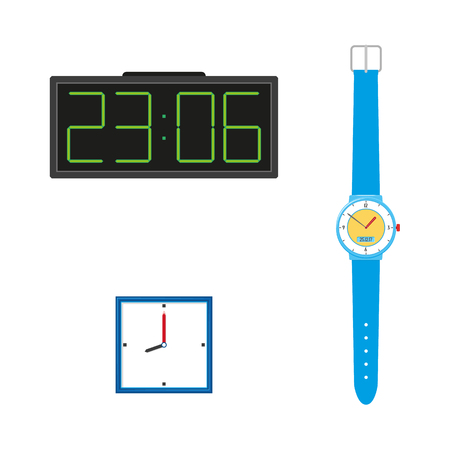 Vector flat analog wall mounted simple modern square white colored clocks with blue frame, digital table clock, wrist watches icon for your design. Isolated illustration on a white background.