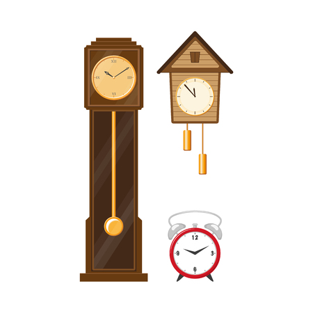 Flat vector vintage wall mounted cuckoo-clock alarm clock, vintage grandfather clock and modern table alarm analog clock icon for your design isolated illustration on a white background. Ilustracja
