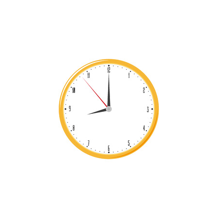 Hanging round wall clock, home interior, decoration object, flat style vector illustration isolated on white background. Flat style wall clock icon, decoration object 向量圖像