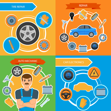 Vector flat car repair, maintenance, mechanics services infographic posters banners set with car spare parts - brakes, wheel, tyre, oil change, battery charge. Illustration on colored background.