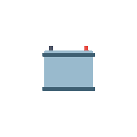 Flat vector car service design objects icon. Auto accumulator, car battery, mechanics maintenance concept isolated illustration on a white background.