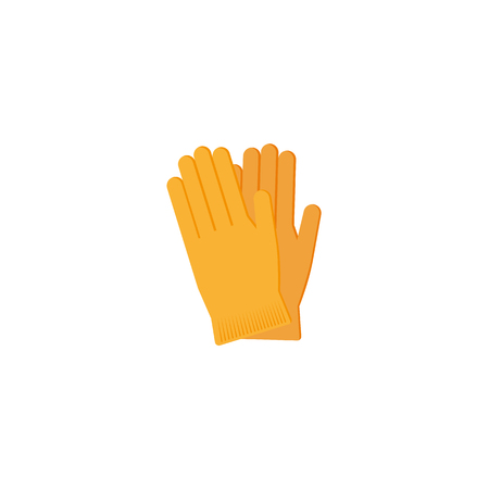 A vector flat style working rubber yellow gloves for plumbing, painting hygiene cleaning, car maintenance, service, mechanics and another manual work icon. Isolated illustratioin on a white background