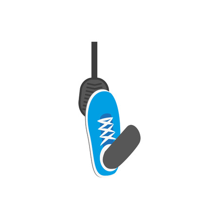 A Vector flat foot in blue sneaker pressing gas, brake car, auto pedal icon. Isolated illustration on a white background. Vehicle, transportation symbol