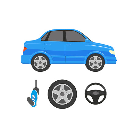 A vector flat car parts, symbols icon set. Stylized blue colored sedan car front view, steering wheel, wheel with tyre, foot pressing pedal. Isolated illustration on a white background.