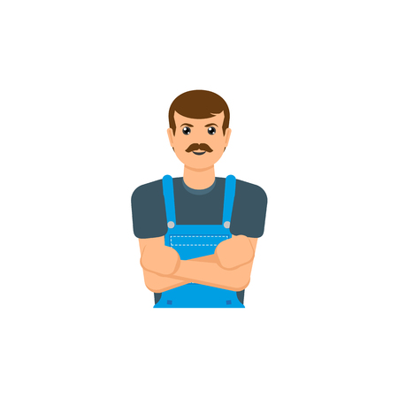 A vector flat adult man with mustache, mechanic in uniform with hands crossed smiling. Male portrait Caucasian character isolated, illustration on a white background.