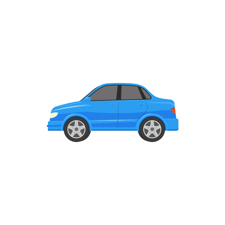 A vector flat cartoon funny stylized blue colored sedan car front view. Isolated illustration on a white background. Road motor vehicle transport. Illustration