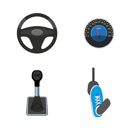 A vector flat car parts, symbols icon set. Steering wheel, foot pressing pedal, speedometer, gearshift, transmission stick. Isolated illustration on a white background.