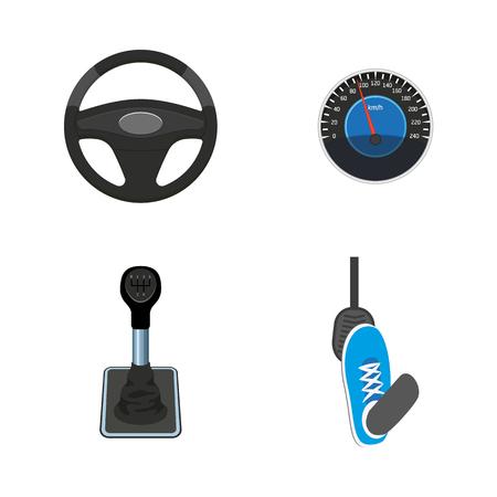 Een vector platte auto-onderdelen, symbolen icon set. Stuurwiel, voetpedaal, snelheidsmeter, versnellingspook, versnellingspook. Geïsoleerde illustratie op een witte achtergrond.