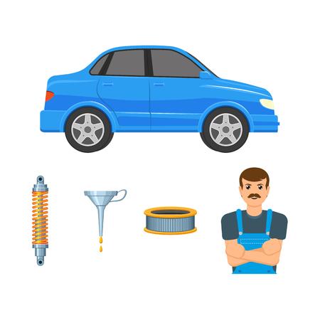 A vector flat car parts, symbols icon set. Blue colored sedan car , handyman mechanic in uniform, shock absorber, damper, oil funnel, arburator air filter Isolated illustration white background Stock Illustratie