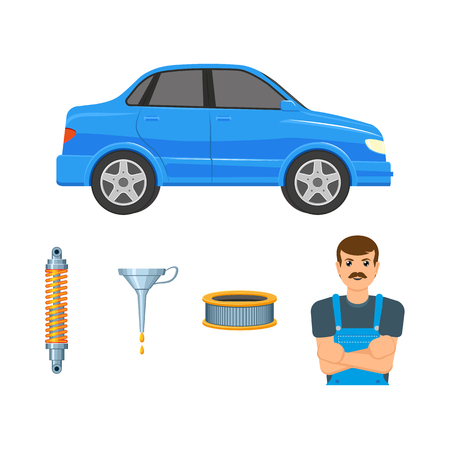 A vector flat car parts, symbols icon set. Blue colored sedan car , handyman mechanic in uniform, shock absorber, damper, oil funnel, arburator air filter Isolated illustration white background Illustration