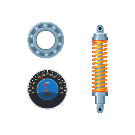 A vector flat car parts, symbols icon set. Auto speedometer, car damper, shock absorber, ball roller bearing. Isolated illustration on a white background.