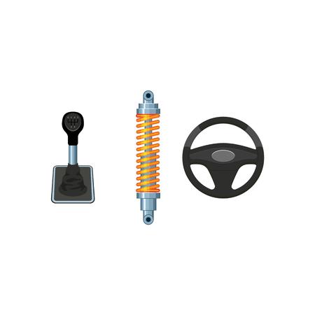 Een vector platte auto-onderdelen, symbolen icon set. Auto stuurwiel, auto demper, schokdemper, auto handmatig, automatische versnellingsbak, versnellingspook stick. Geïsoleerde illustratie op een witte achtergrond.