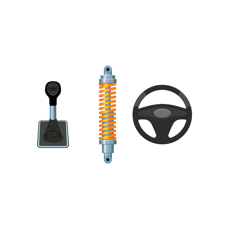 A vector flat car parts, symbols icon set. Auto steering wheel, car damper, shock absorber, car manual, automatic gear box, transmission speed shift stick. Isolated illustration on a white background. Illustration