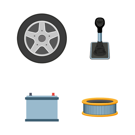 vector flat car parts icon set. Auto accumulator, car battery, engine air, oil filter, wheel with tyre, manual gear box, transmission speed shift stick. Isolated illustration on a white background