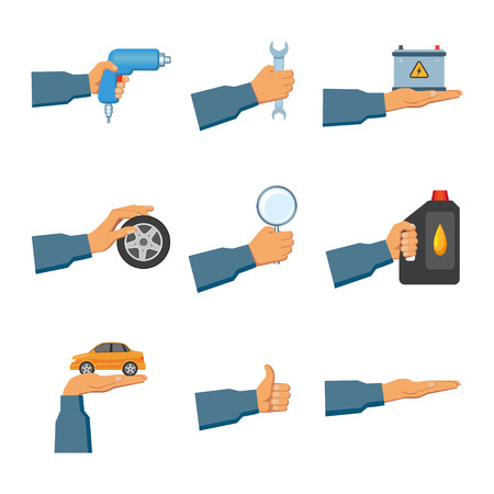 Set of auto service, maintenance icons with hand holding car, wrench, drill, oil canister, magnifier, battery, wheel, showing thumb up, open palm, flat vector illustration isolated on white background