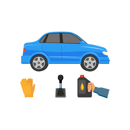 A vector flat handyman mechanic in uniform hand holding engine oil canister, blue car vehicle, gloves, manual, automatic gear box, transmission speed shift stick. Isolated illustration on white background