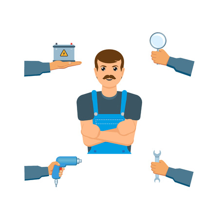 A vector flat handyman mechanic in uniform, man hand holding tools set. Auto accumulator, car battery, wrench, magnifier. Isolated illustration on a white background