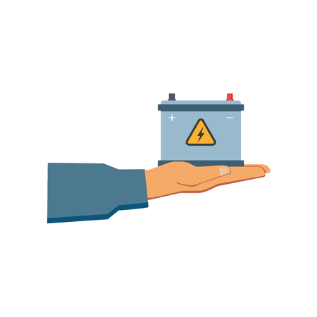 A vector flat car service design objects icon. Handyman, mechanic hand in uniform holding auto accumulator, car battery. Mechanics maintenance concept. Isolated illustration on a white background. Иллюстрация