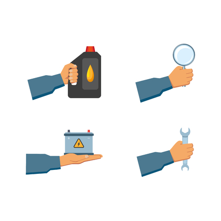 vector flat handyman worker man hand in grey blue uniform, maintenance, mechanic service employee holding engine oil canister, wrench, magnifier, car battery accumulator. Isolated illustration Illustration