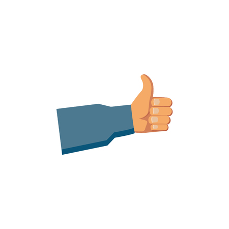 A vector flat handyman worker man hand in grey blue uniform, maintenance, mechanic service employee showing thumbs up gesture sign. Isolated illustration on a white background. Illustration
