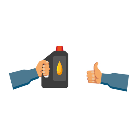 vector flat handyman worker man hand in grey blue uniform, maintenance, mechanic service employee showing thumbs up gesture sign, holding engine oil canister. Isolated illustration white background