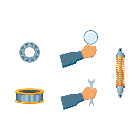 vector flat car service design objects - engine air filter, ball roller bearing, damper, car shock absorber handyman hand holding magnifier, wrench icon. Isolated illustration on a white background.