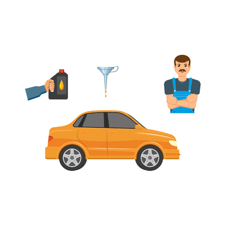 Flat vector handyman mechanic in uniform, man hand holding engine oil canister, orange car vehicle, oil funnel lubricant isolated illustration on a white background.