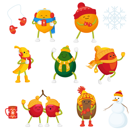 Cartoon winter fruit active characters and symbols set. Funny orange, apple, lemon, banana, cherry, kiwi and avocado in outdoor clothing, cup of hot beverage, snowman, mittens, snowflake.
