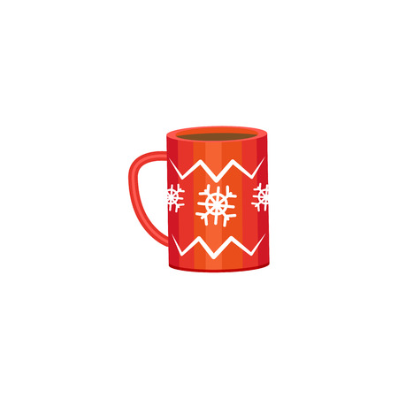 Hot chocolate, coffee, tea in big red mug, cup decorated with snowflakes, flat cartoon vector illustration isolated on white background. Red mug with cocoa, coffee, tea, winter holiday icon.