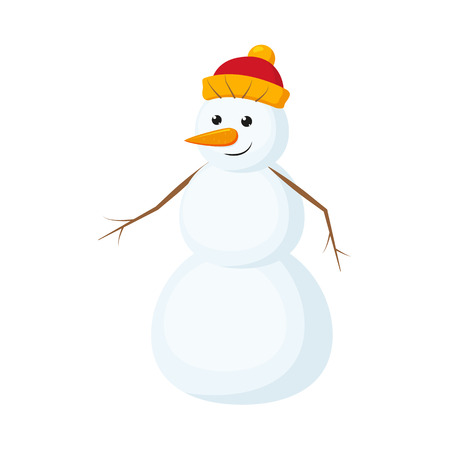 Cute, funny snowman with carrot nose in warm knitted hat, cartoon vector illustration isolated on white background. Cartoon snowman character, full length portrait.